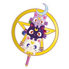 'Sailor Moon: Luna, Artemis, Diana Design by PandaIslandShop Sailor Moon Meme, Sailor Moon Luna, Sailor Moon Cosplay, Sailor Uranus, Sailor Mars, Chibi, Luna And Artemis, Cute Animal Drawings Kawaii, Sailor Moon Character