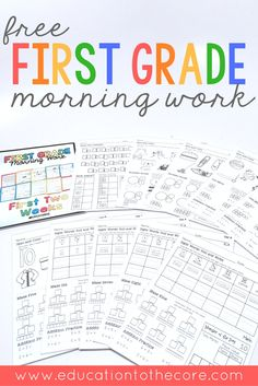 Freebie First Grade Morning Work sample for two weeks. These free printables are great to place in a binder or use as a packet for students. Includes 10 pages full of math, writing, language, literacy, and number sense activities. Make your back to school morning routine easy with this common core morning work!
