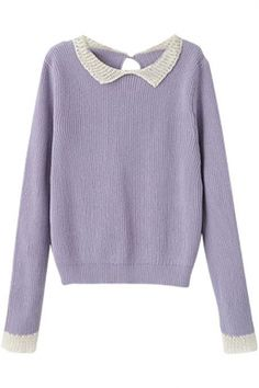 Simple Contrast Trimmed Long Sleeve Sweater with Keyhole Back