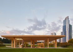 "A cross-laminated timber structure has been built in Chicago, bring that city it's first high profile application of the wood construction material being used in high rise wood building construction. The Chicago Horizon project was designed by Ultramoderne, a Rhode Island architectural group, for a competition, and represents ""a quest to create the largest wood roof possible."""