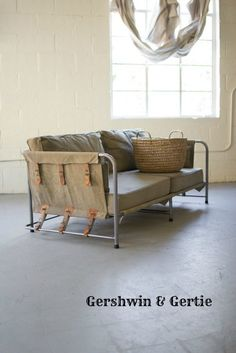 Barnyard Iron & Leather Canvas Sofa