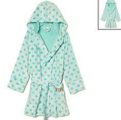 Victoria's Secret blue polka dot bath robe xs/s New with tags Victoria's Secret blue polka dot shorty bathrobe. Has PINK monogram on the left pocket in a gold thread. So cute and warm for the winter. ● willing to negotiate price ● no trades, no paypal ● ● bundle discounts ● Victoria's Secret Intimates & Sleepwear Robes