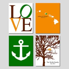 Newlywed Nautical Quad - Set of Four 11x14 Customizable Prints - Love, Family Established Bird Tree, Love Map, Anchor - GREAT WEDDING GIFT