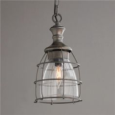 Metal Cage and Open Glass Pendant- shades of light place for great lights...