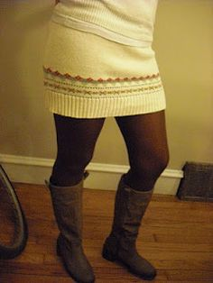 Make a no-sew skirt out of a sweater.