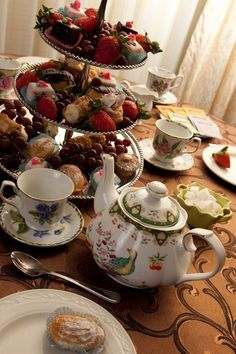 Quite the assortment of sweets for this tea. And a rather eclectic set of patterns on the tea service. Afternoon Tea Parties, My Cup Of Tea, Me Time, Food Items, High Tea, Party Time, Tea Party, The Help, Tea Cups