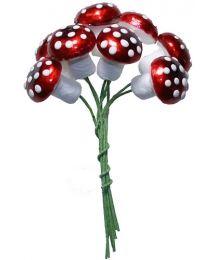 8 Spun Cotton Mushrooms from Germany ~ 20mm Metallic Dark Red