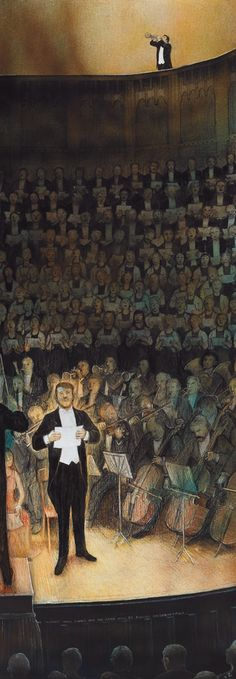 William Kurelek, Handel's Messiah at Massey Hall William Kurelek, Canadian Prairies, Canadian Art, Classical Music, Toronto, Auction, Contemporary, Painting, Music
