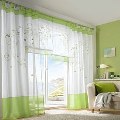 New Arrivals Pastoral Embroidered Sheer Curtain Screens Living Room Den Bedroom | eBay