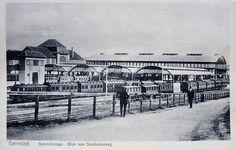 """alte Postkarte """" Darmstadt Bahnhof-Anlage Dornheimer Weg """", Ansichtskarte"""