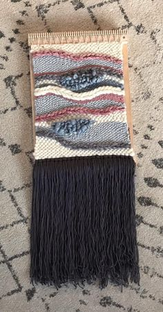 Beautiful blush, cream, grey and light blue weaving. This weaving looks great with a gallery wall or an individual wall hanging. Textiles, Loom Weaving, Wall Hangings, Textile Art, Outdoor Blanket, Gallery Wall, Diy Projects, Tapestry, Landscape