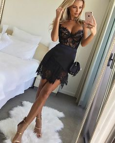 Sale Fine Black Lace Party Dresses Sheath Spaghetti Straps Short Black Homecoming Cocktail Dress With Lace Lace Party Dresses, Club Dresses, Sexy Dresses, Short Dresses, Sexy Lace Dress, Dress Black, Black Cocktail Dress Outfit, Black Skirt Outfit Party, Sexy Party Dress