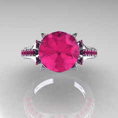 Classic+French+10K+White+Gold+30+Carat+Pink+Sapphire+by+artmasters,+$949.00