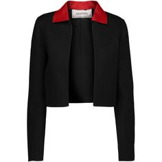 Valentino - Leather-trimmed Wool And Cashmere-blend Jacket (1,475 CAD) ❤ liked on Polyvore featuring outerwear, jackets, black, woolen jacket, leather trim jacket, open front jacket, valentino jacket and wool jacket