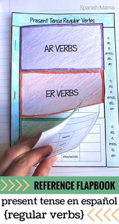 Spanish Interactive Notebook Verbs Flapbook (Regular Present Tense) Present tense verbs reference flapbook for Interactive Notebooks in Spanish. Awesome way to keep your verbs organized and learn regular verbs! Middle School Spanish, Elementary Spanish, Spanish Classroom, Spanish Teacher, Spanish Teaching Resources, Spanish Activities, Teacher Resources, Spanish Interactive Notebook, Interactive Notebooks