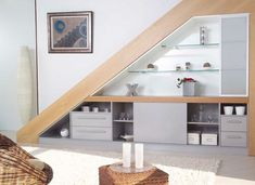 Decorative shelves under stairs! 20 ideas save space ...  #decorative #ideas #shelves #space #stairs #under