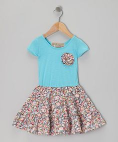 Take a look at this Turquoise Swing Dress & Floral Pin - Toddler & Girls by Lele Vintage on #zulily today!