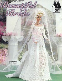 Beautiful Bride Outfit fits Barbie Doll Annie's Attic Crochet Pattern HTF