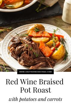 A Dutch Oven Pot Roast is a fabulous one-pot meal complete with potatoes and carrots. Braised with rich red wine and delicious herbs! #dutchoven #onepot #dinner #fallrecipes #beefrecipes Dutch Oven Pot Roast, Chuck Roast Dutch Oven, Dutch Oven Chicken, Beef Chuck Roast, Roasted Potatoes And Carrots, Oven Chicken And Potatoes, Pot Roast Vegetables, Veggies