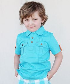 Look at this Blue Two-Pocket Polo - Infant, Toddler