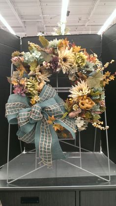 Blue Burlsp and Jute Ribbon Fall Wreath...Robin Evans