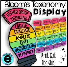Print, Cut, Glue, and Paste. Print on black and white using colorful paper. It comes with three different titles and 6 verbs for each level of thinking. Math Wall DecorPartner Chart and Pairing Cards. Instructional Technology, Instructional Strategies, Blooms Taxonomy Display, Fraction Word Problems, Math Wall, Classroom Displays, Class Displays, Classroom Organization, Classroom Decor
