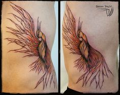 Phoenix, design and tattoo by Sanne Vaghi