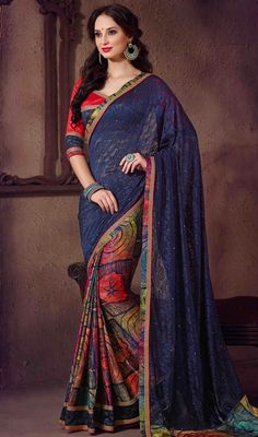 Spread beauty and dignity by complementing your attire in this navy blue color jacquard net printed sari. It is uniquely crafted with block print, lace and stones work. Upon request we can make round front/back neck and short 6 inches sleeves regular saree blouse also. #SpectacularDigitalPrintCasualSari