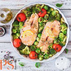 Verse zalm met spruitjes, broccoli en tomaat uit de oven | Koolhydraatarm recept | PowerSlim fase1