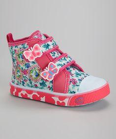 Look what I found on #zulily! Fuchsia Flower & Butterfly Hi-Top Sneaker #zulilyfinds