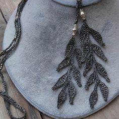 crochet leaf necklace