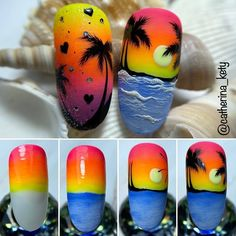 Tropical Nail Designs, Tropical Nail Art, Bright Nail Designs, Funky Nail Art, Dot Nail Art, Simple Toe Nails, Beach Nail Art, Sunset Nails, Fruit Nail Art