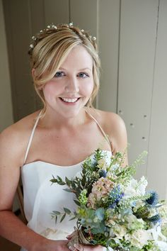 Flowers Hair Make Up Natural Pretty Bride Bridal Quaint Rustic Seaside Windmill Wedding Norfolk http://www.fullerphotographyweddings.co.uk/