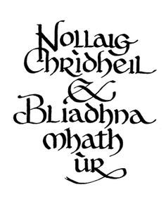 Merry Christmas and Happy New Year, in Gaelic. :-)  *as I don't speak the language, I can only trust that is is what the original pinner says it does :)