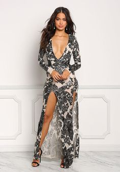 Nude Mesh Sequin Plunge High Slit Maxi Gown - Going Out - Dresses