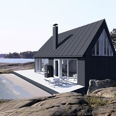 tahtoo saaristolaistalon Vaaleanpunainen hirsitalo is part of Prefab cottages - Modern Tiny House, Modern Barn, Modern Lofts, Prefab Cottages, Sun House, Black House Exterior, Exterior Houses, House Siding, Shed Homes