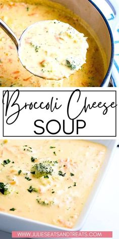 Make your favorite cheesy, rich and creamy Broccoli Cheese Soup at home! This homemade soup is loaded with fresh broccoli and is so cheesy and easy to make. It's the perfect comfort food for a cold… More Easy Soup Recipes, Easy Dinner Recipes, Cooking Recipes, Healthy Recipes, Crockpot Recipes, Yummy Recipes, Healthy Snacks, Best Broccoli Cheese Soup, Fresh Broccoli