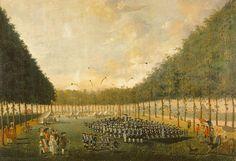 Oefening van het exercitiegenootschap Pro Patria et Libertate in het Sterrenbos te Utrecht, 1784