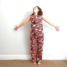 Meet The Maker: Becky, Queen of Frocks // Tropical pyjama shirt, cotton pajama top, purple flamingo pyjamas, holiday pyjamas, tropical pyjama top, purple pyjama, sleeveless pyjamas