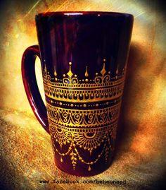 Hand-painted mehndi henna mug --- gorgeous, deep henna brown mug embellished… Dot Art Painting, Pottery Painting, Ceramic Painting, Painted Coffee Mugs, Hand Painted Mugs, Bottle Painting, Bottle Art, Jar Crafts, Bottle Crafts