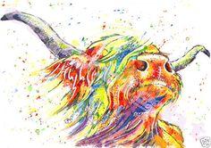 JOSIE P PRINT Original Watercolour Highland Cow Cattle Scottish Various Sizes | eBay