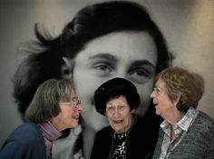 Kitty Gokkel-Egyedi, Hanneli Goslar and Jacqueline van Maarsen - classmates and best friends of Anne Frank in the Anne Frank House in the opening exhibition 'So now I am fifteen…' - October 2012