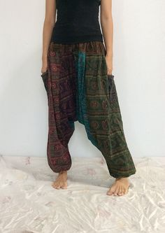 Mixed Colors Hippie Harem Pants, Unisex Pants, Drop Crotch Pants, Baggy Pants with Om patterned (HR-487) by ThaiFascinate on Etsy