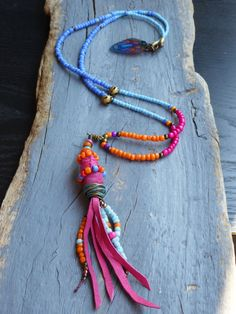 Ethnic tribal Long Statement necklace Hippie by BeadStonenSkin, €38.00