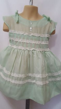 73b51f1c9e Details about Vintage Girls 1950s Dress Size 2T   3T Mint Green Pastel  Easter Birthday Holiday