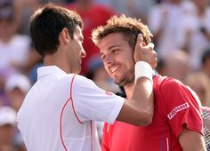 Djokovic and Wawrinka at the net after their Semi Final match at the 2013 US Open