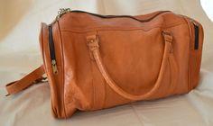 Vintage Large Mens Solid Brown Leather Duffle Bag W/ Adjustable Strap Hipster #Unbranded
