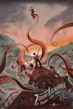"geek-art: "" Gorgeous Jules Verne limited screen print tribute by Jonathan Burton for Nautilus Art Prints. Jules Verne, Illustrations, Illustration Art, Le Kraken, Motif Art Deco, Creation Art, Leagues Under The Sea, Alternative Movie Posters, Sea Monsters"
