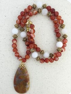 Brecciated Jasper Pendant Necklace on Beaded Strand of Red Agate, White Marble and Gold Beads