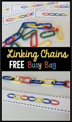 FREE printable preschool and kindergarten center activity. Also perfect for a busy bag activity! My kids love linking chains!FREE printable preschool and kindergarten center activity. Also perfect for a busy bag activity! My kids love linking chains! Quiet Time Activities, Classroom Activities, Learning Activities, Toddler Activities, Free Activities, Alphabet Activities, Preschool Learning Centers, Educational Activities, Fine Motor Preschool Activities